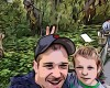 Cartoon boy and father at the zoo