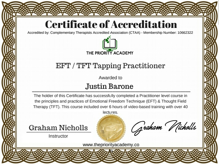 EfFT/TFT Tapping practitioner Certificate from the Priority Academy.  Instructed by Graham Nichols.