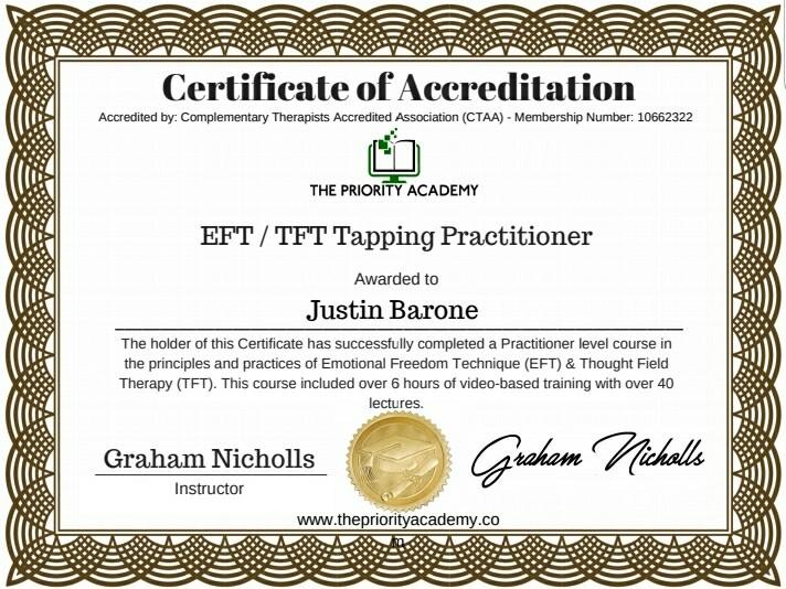 EFT/TFT Tapping Practitioner Certificate from the priority academy