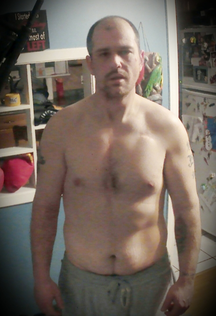 shirtless man before working out.  before and after reference picture