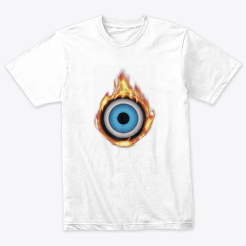 add for pappachino, white Tshirt with eyeball fire print. Oculus Heat Collection