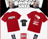 red tshirts with white printing, phone cases, and a red mug